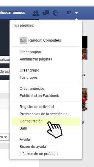 Facebook Opción Configuración