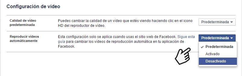 Facebook Configuración de Videos